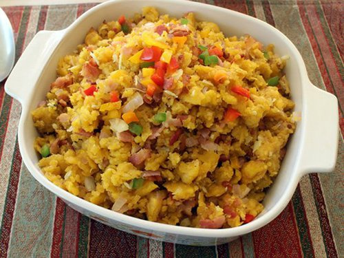 Food and Drink Latin Inspired Thanksgiving Recipe 2 Mofongo Green Plantain Turkey Stuffing